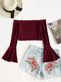Cropped Off Shoulder Bell Sleeve Top - Wine Red S