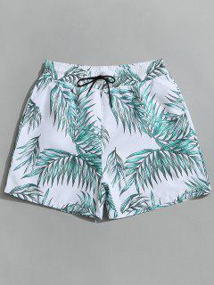 Drawstring Leaf Print Beach Board Shorts - White L
