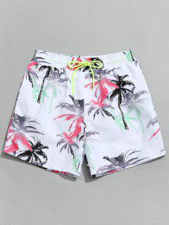 Coconut Palm Beach Board Shorts - White Xl