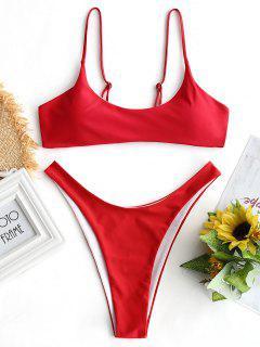 Top De Bikini Acolchado Y Parte Inferior De Corte Alto - Rojo S