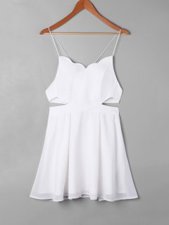 Scalloped Side Cut Out Swing Dress - White S