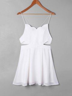 Robe De Bain Festonnée Découpée Latérale  - Blanc S