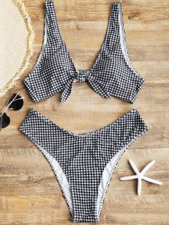Plus Size Tied Checked High Cut Bikini - White And Black Xl
