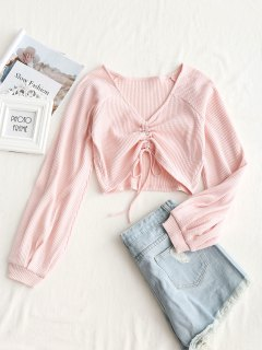 Textured Knitted Gathered Top - Pink S