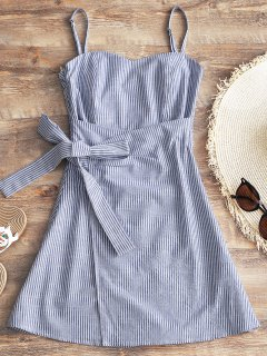 Cami Smocked Wrap Striped Dress - Stripe L