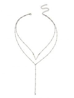 Unique V Pattern Layered Collarbone Necklace - Silver