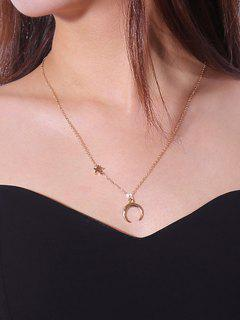 Valentines Star Moon Pattern Collarbone Necklace - Golden