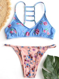Trapez Ausgeschnitt Blumen Racerback Bikini Set - Helles Blau S