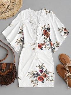 Mini Vestido Ajustado Floral Con Cordones - Blanco M