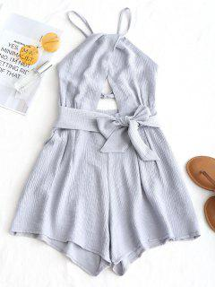 Criss Cross Backless Belted Romper - Gray S