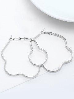 Geometric Alloy Hoop Earrings - Silver
