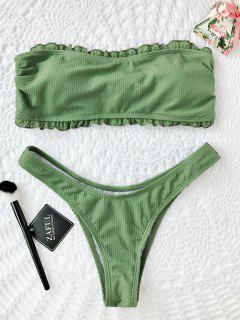 Waffle Frilled Bandeau Bikini Set - Green M