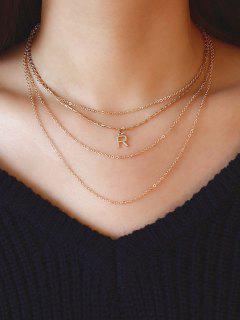 Buchstabe R Mehrschichtige Schlüsselbein Halskette - Golden