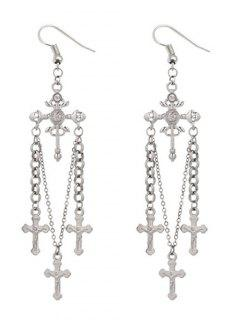 Unique Rhinestone Cross Hook Earrings - Silver