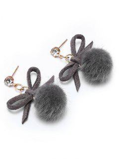 Cute Bowknot Fuzzy Ball Drop Earrings - Gray