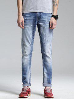Zip Fly Straight Leg Jeans - Light Blue 36