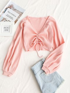 Textured Knitted Gathered Top - Deep Pink S