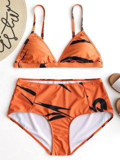 Printed Plus Size Bikini Set - Orange 2xl