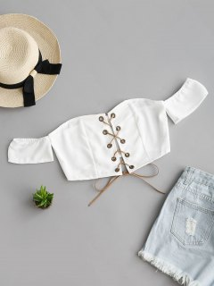 Lace Up Off Shoulder Cropped Top - White L