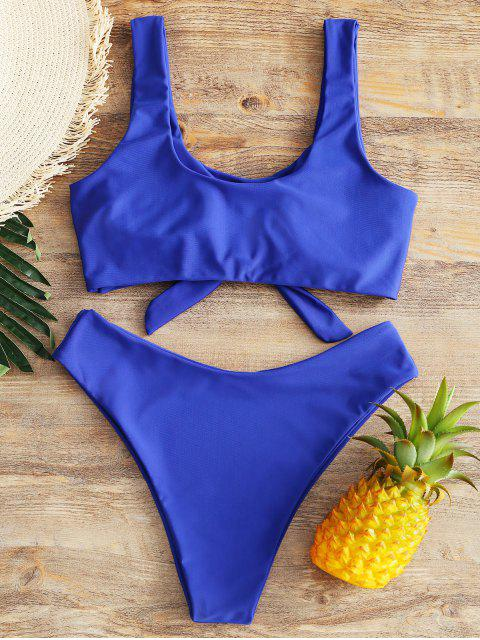 Bikini à Taille Haute à Jambes Hautes - Bleu M Mobile
