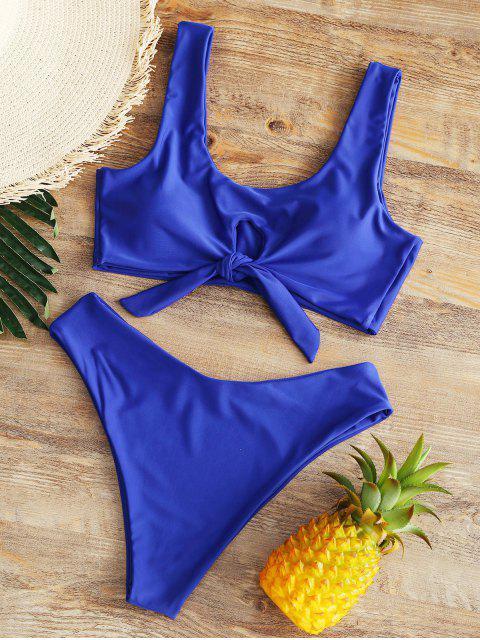 Hohe Taille Schleife Hohes Bein Bikini - Blau XL  Mobile