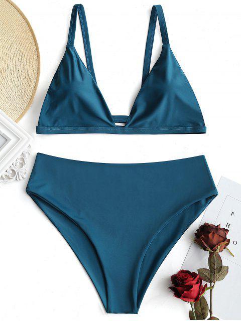 Conjunto de bikini acolchado de talle alto y talla grande - malaquita verde 3XL Mobile
