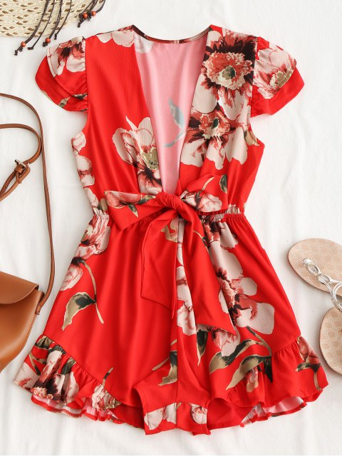 women's Tied Floral Ruffle Romper - RED M Mobile