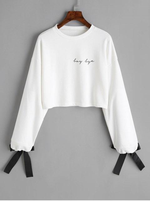 Sweat-shirt Court à Lettre à Détail Noued Noué - Blanc L Mobile