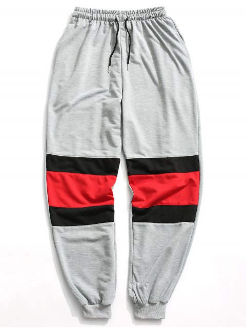 Color Block Jogger Pants - Gris L Mobile