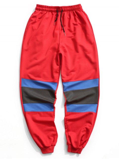 online Color Block Jogger Pants - RED L Mobile