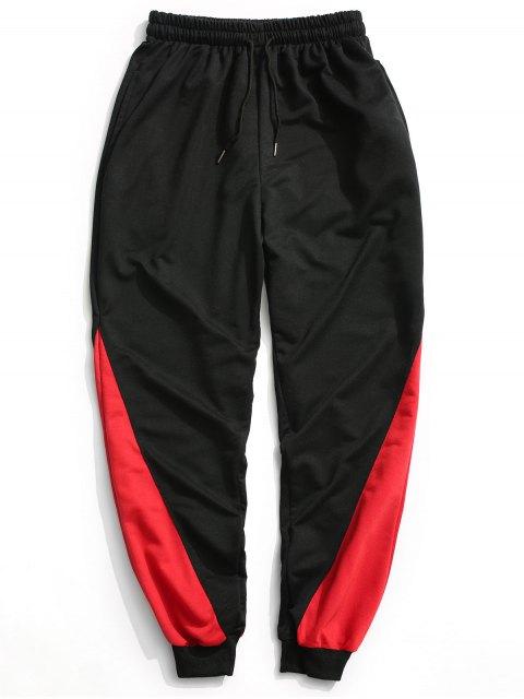 Pantalones de jogging de dos tonos - Negro XL Mobile