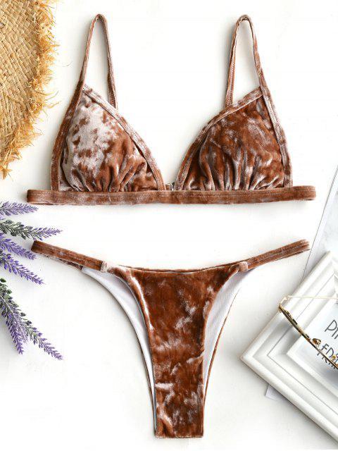 Conjunto de Bikini de Terciopelo con Tanga Acolchada - Café M Mobile