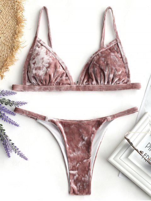 Conjunto de Bikini de Terciopelo con Tanga Acolchada - Castaño-Rojo M Mobile
