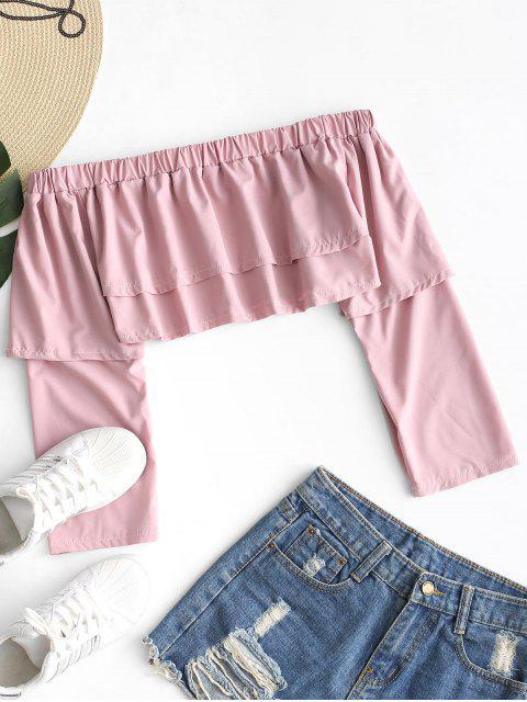 Blusa corta con hombros descubiertos - Color de Raíz de Loto   L Mobile