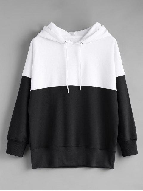 womens Contrast Longline Hoodie - BLACK WHITE S Mobile