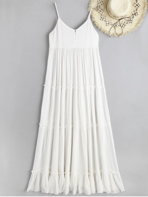 fashion Cami Crinkly Texture Frilled Maxi Beach Dress - WHITE S Mobile