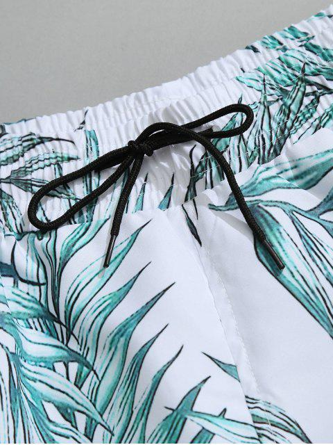 womens Drawstring Leaf Print Beach Board Shorts - WHITE XL Mobile