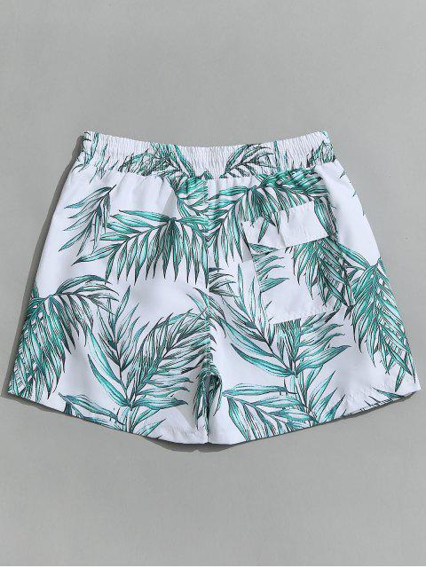 women Drawstring Leaf Print Beach Board Shorts - WHITE L Mobile