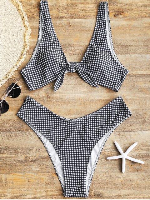 Bikini en Carreaux Taille Haute avec Noeud Devant - Blanc et Noir XL Mobile