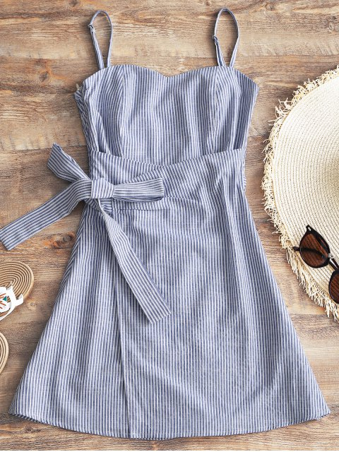 fancy Cami Smocked Wrap Striped Dress - STRIPE M Mobile
