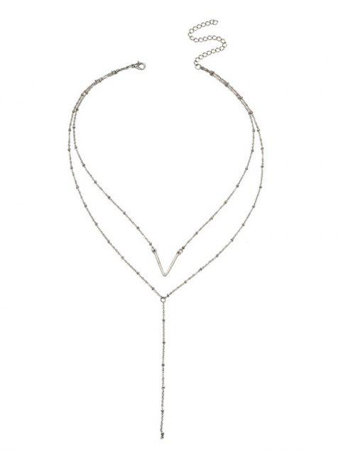 latest Unique V Pattern Layered Collarbone Necklace - SILVER  Mobile