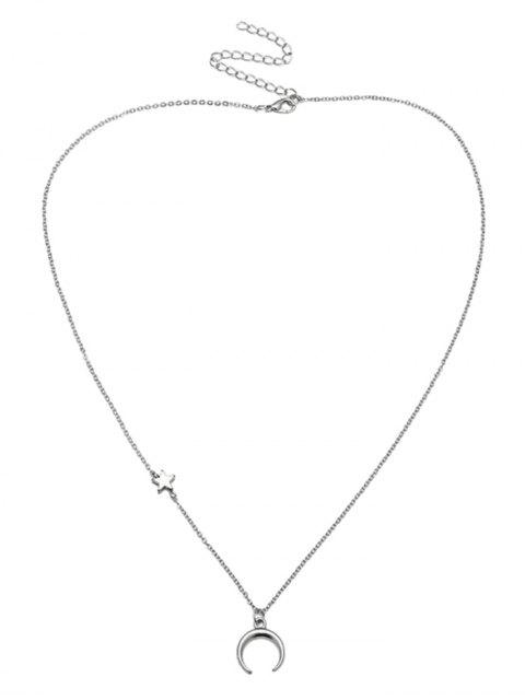 fashion Valentines Star Moon Pattern Collarbone Necklace - SILVER  Mobile