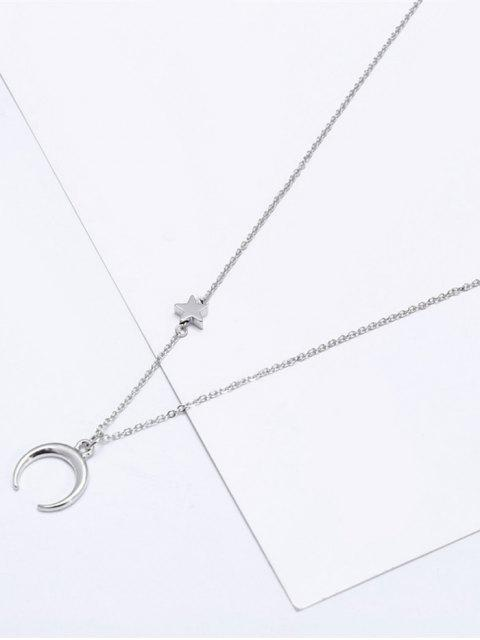 Valentines Star Moon Pattern Collar de clavícula - Plata  Mobile