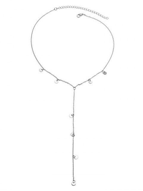 Collar con lentejuelas metálicas con flecos - Plata  Mobile