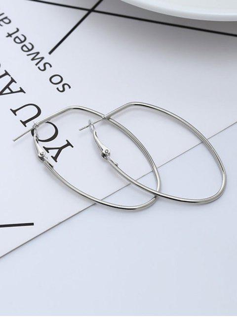 Pendientes de aro redondos simples de metal - Plata  Mobile