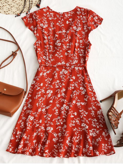hot Tiny Floral Ruffle Mini Wrap Dress - BRICK-RED M Mobile