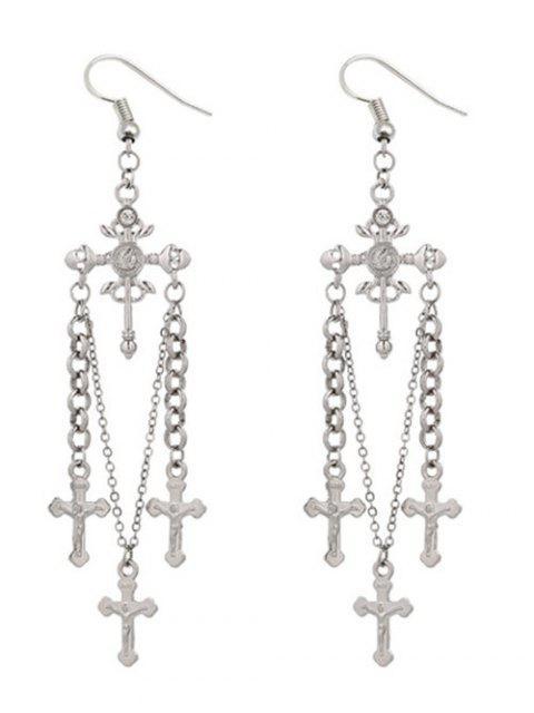 shop Unique Rhinestone Cross Hook Earrings - SILVER  Mobile