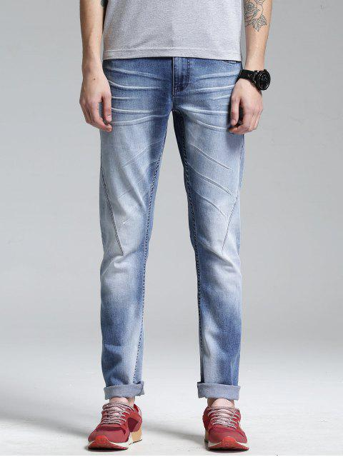 buy Zip Fly Straight Leg Jeans - LIGHT BLUE 38 Mobile