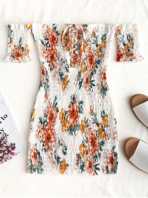 womens Floral Shirred Off Shoulder Mini Dress - WHITE ONE SIZE Mobile