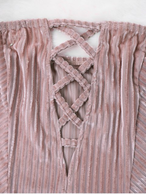 new Ribbed Off The Shoulder Romper - PINK XL Mobile